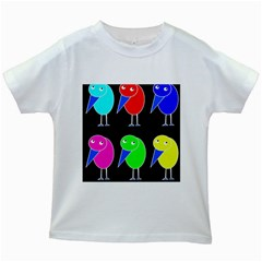 Colorful birds Kids White T-Shirts