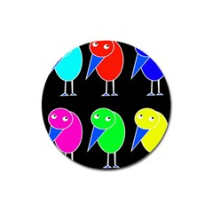 Colorful birds Magnet 3  (Round)