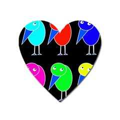 Colorful birds Heart Magnet