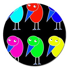 Colorful birds Magnet 5  (Round)