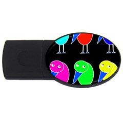 Colorful birds USB Flash Drive Oval (2 GB)