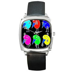Colorful birds Square Metal Watch