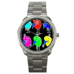 Colorful birds Sport Metal Watch