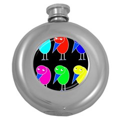 Colorful birds Round Hip Flask (5 oz)