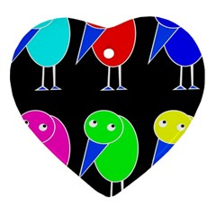 Colorful birds Heart Ornament (2 Sides)