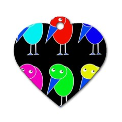 Colorful birds Dog Tag Heart (One Side)