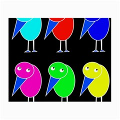 Colorful birds Small Glasses Cloth (2-Side)