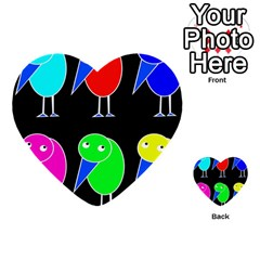 Colorful birds Multi-purpose Cards (Heart)