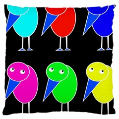 Colorful birds Large Cushion Case (One Side)