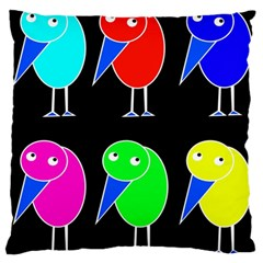 Colorful birds Large Flano Cushion Case (One Side)