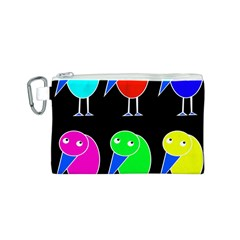 Colorful birds Canvas Cosmetic Bag (S)