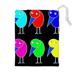 Colorful birds Drawstring Pouches (Extra Large)