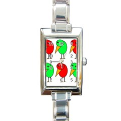 Green and red birds Rectangle Italian Charm Watch