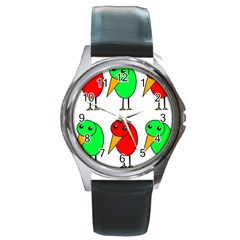 Green and red birds Round Metal Watch
