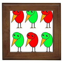 Green and red birds Framed Tiles