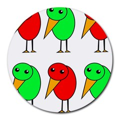 Green and red birds Round Mousepads