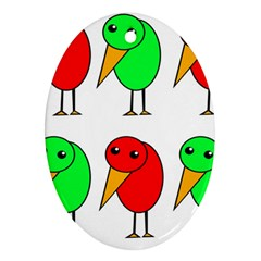 Green and red birds Ornament (Oval)