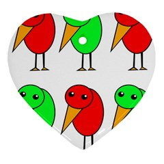 Green and red birds Ornament (Heart)