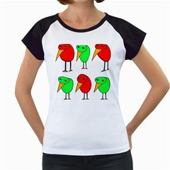 Green and red birds Women s Cap Sleeve T