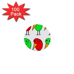 Green and red birds 1  Mini Buttons (100 pack)