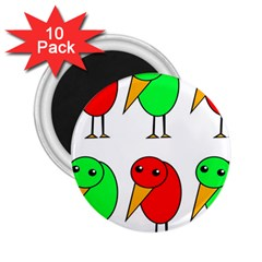 Green and red birds 2.25  Magnets (10 pack)