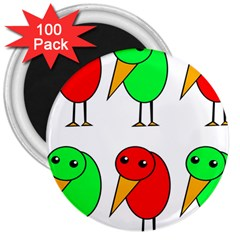 Green and red birds 3  Magnets (100 pack)