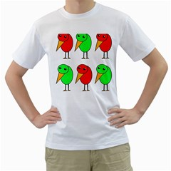 Green and red birds Men s T-Shirt (White) (Two Sided)