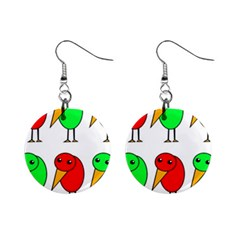 Green and red birds Mini Button Earrings