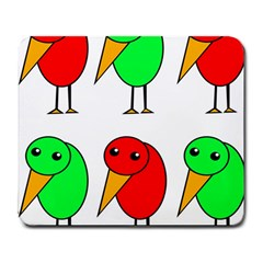 Green and red birds Large Mousepads