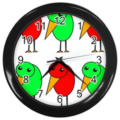 Green and red birds Wall Clocks (Black)