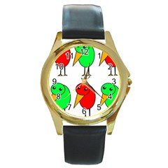 Green and red birds Round Gold Metal Watch