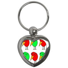 Green and red birds Key Chains (Heart)