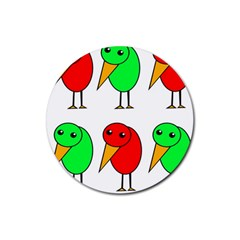Green and red birds Rubber Round Coaster (4 pack)