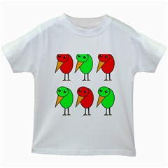 Green and red birds Kids White T-Shirts