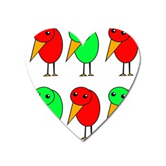 Green and red birds Heart Magnet