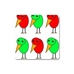 Green and red birds Square Magnet