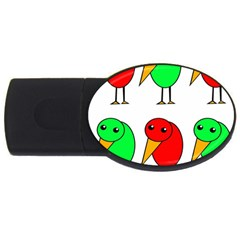 Green and red birds USB Flash Drive Oval (2 GB)