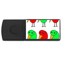 Green and red birds USB Flash Drive Rectangular (1 GB)