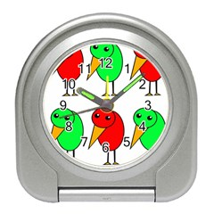 Green and red birds Travel Alarm Clocks