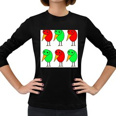 Green and red birds Women s Long Sleeve Dark T-Shirts