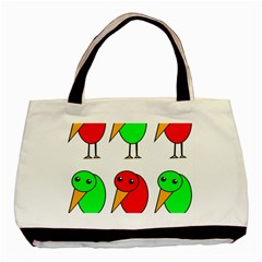 Green and red birds Basic Tote Bag