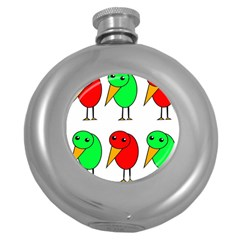 Green and red birds Round Hip Flask (5 oz)