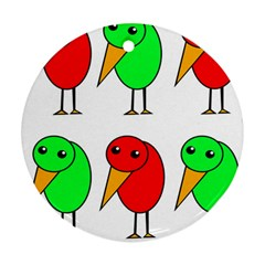 Green and red birds Round Ornament (Two Sides)