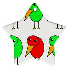 Green and red birds Star Ornament (Two Sides)
