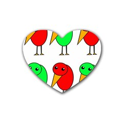 Green and red birds Rubber Coaster (Heart)