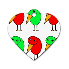 Green and red birds Dog Tag Heart (One Side)