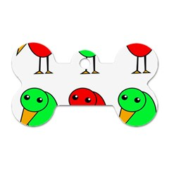 Green and red birds Dog Tag Bone (One Side)