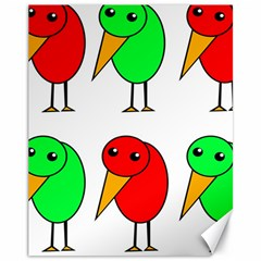 Green and red birds Canvas 11  x 14