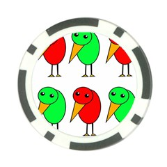 Green and red birds Poker Chip Card Guards