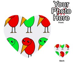 Green and red birds Multi-purpose Cards (Heart)